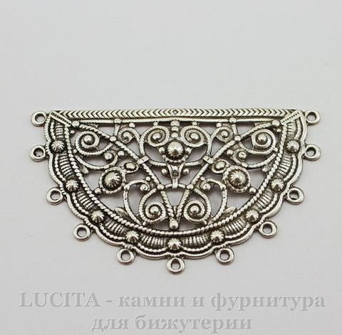 Винтажный декоративный элемент - коннектор - филигрань 50х30 мм (оксид серебра)