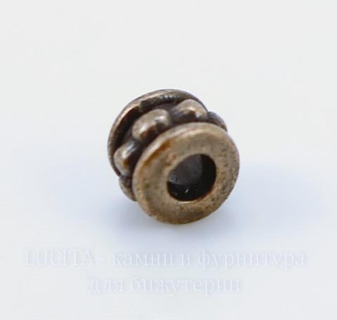 Бусина металлическая 6х5 мм (цвет - античная медь), 10 штук