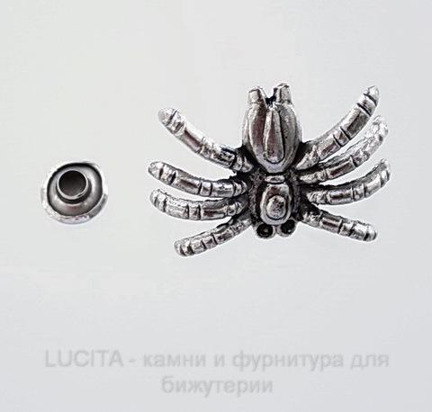 """Заклепка из 2х частей """"Паук"""" (цвет - античное серебро темное) 24х17х7,5 мм, 7х4 мм"""