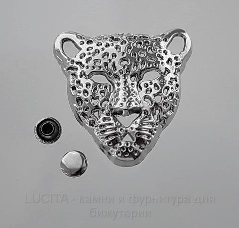 "Заклепка из 2х частей ""Леопард"" (цвет - античное серебро) 36х35х10 мм, 7х4 мм"