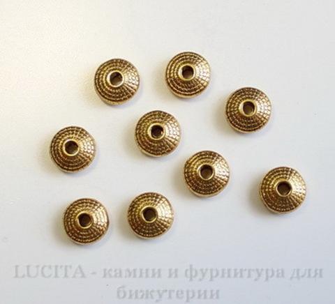 Бусина металлическая - рондель (цвет - античное золото) 8х4 мм, 10 штук