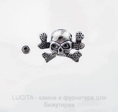 "Заклепка из 2х частей ""Череп"" (цвет - античное серебро темное) 34х24х10 мм, 7х4 мм ()"