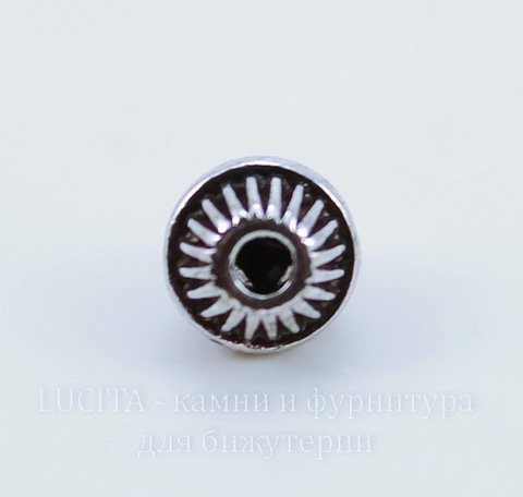 Бусина металлическая шарик с ободком (цвет - античное серебро) 7х6 мм, 10 штук ()