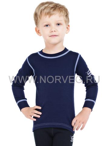 Термобелье футболка Norveg Soft  детская с длинным рукавом тёмно-синяя