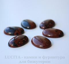 Кабошон овальный Махагон коричневый, 25х18х6 мм
