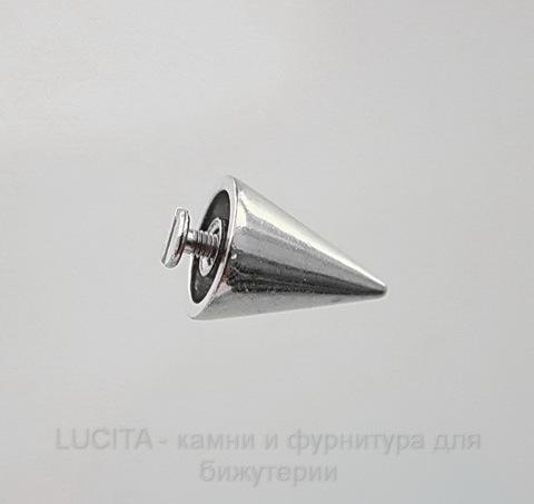 Шип винтовой большой из 2х частей (цвет - античное серебро) 20х15 мм, 8х7,3 мм