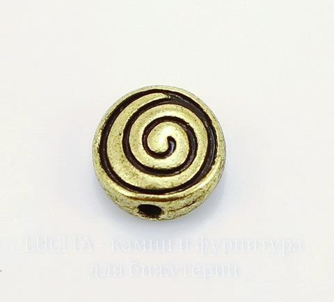 """Бусина металлическая """"Спираль"""" (цвет - античное золото) 8х4 мм, 10 штук ()"""