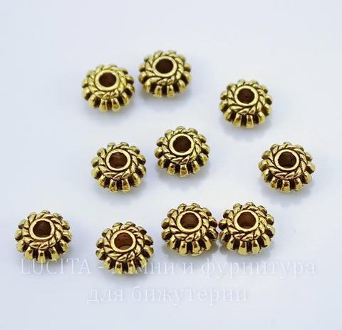 Бусина металлическая с плетением (цвет - античное золото) 13х4 мм , 10 штук