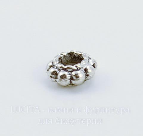 Бусина металлическая - спейсер (цвет - античное серебро) 6х3 мм, 10 штук