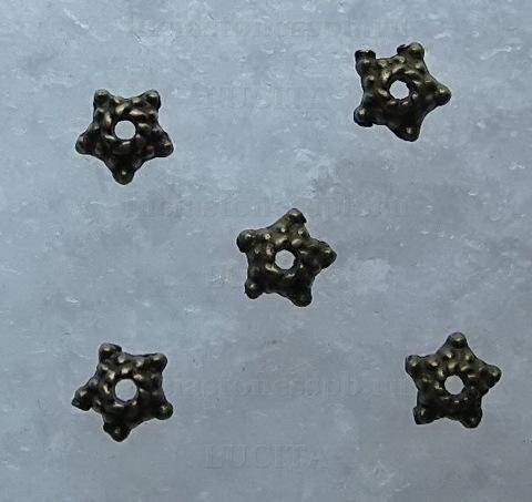 Шапочка для бусины (цвет - античная бронза) 5х2 мм, 10 шт