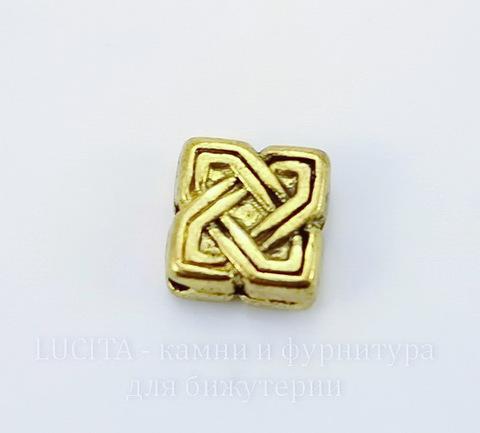 """Бусина металлическая """"Узел"""" 10х9 мм (цвет - античное золото), 10 штук"""