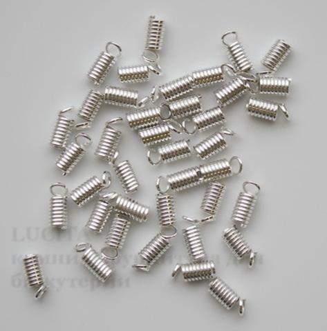 Пружинка для шнура 2,5 мм, 9х4 мм (цвет - серебро), 10 штук ()