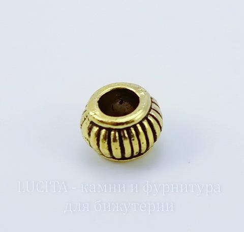 Бусина металлическая (цвет - античное золото) 7х5 мм, 10 штук