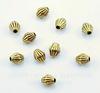 """Бусина металлическая """"Биконус гофрированный""""6х5 мм (цвет - античное золото), 10 штук"""