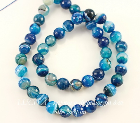 Бусина Агат (тониров), шарик с огранкой, цвет - темно-синий с белыми полосками, 8 мм, нить ()
