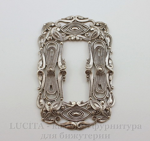 Винтажный декоративный элемент - рамка 81х52 мм (оксид серебра)
