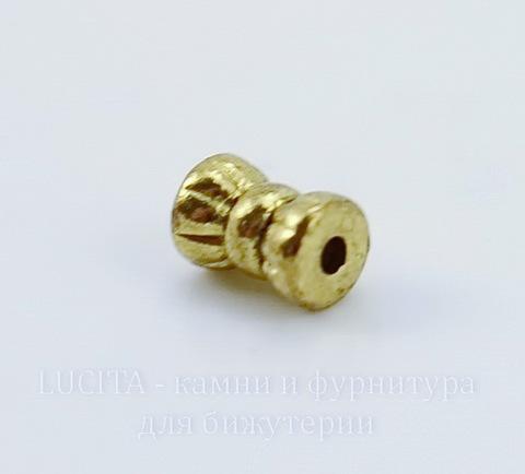 """Бусина металлическая """"Конфетка"""" 6х4 мм (цвет - античное золото), 20 штук"""