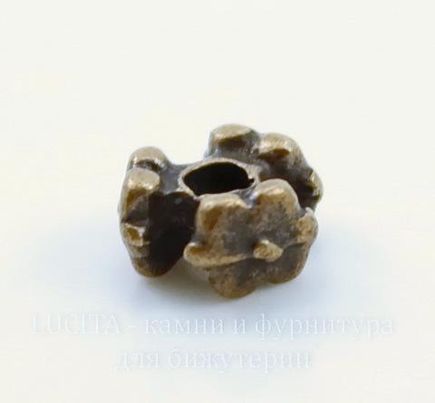 """Бусина металлическая """"Три цветка"""" (цвет - античная медь) 7х4 мм, 10 штук"""