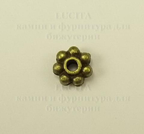 Бусина металлическая - рондель (цвет - античная бронза) 5х2 мм, 10 штук