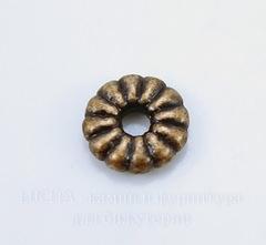 Бусина металлическая - спейсер 7х2 мм (цвет - античная медь), 10 штук