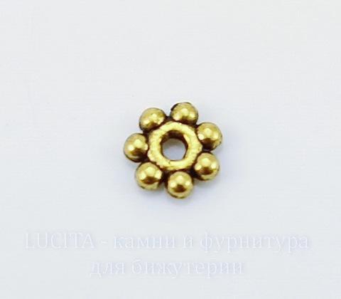 """Бусина металлическая - спейсер """"Цветочек"""" (цвет - античное золото) 4х1 мм, 10 штук"""