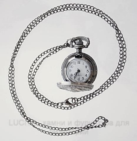 """Часы на цепочке """"Роза"""" (цвет - черный никель) 40х27х13 мм"""
