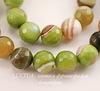 Бусина Агат (тониров), шарик с огранкой, цвет - салатовый с полосками, 10 мм, нить