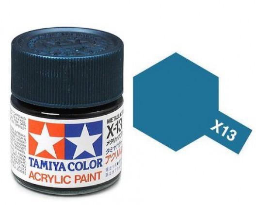 X-13 Краска Tamiya, Синий Металлик Глянцевый (Metallic Blue), акрил 10мл