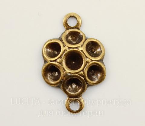 Винтажный декоративный элемент - коннектор (1-1)  15х10 мм (оксид латуни)