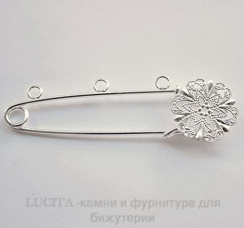 Основа для броши c филигранью и 3 петельками (цвет - серебро) 74х21 мм ()