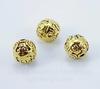 """Бусина металлическая шарик """"Спиральки"""" (цвет - античное золото) 10 мм ()"""