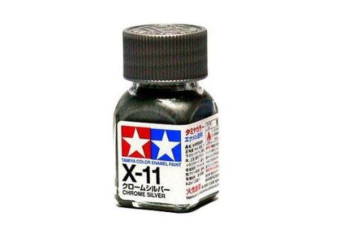 X-11 Краска Tamiya, Хром Серебро Глянцевый (Chrome Silver), эмаль 10мл