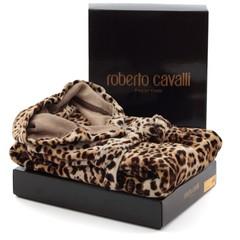 Халат велюровый Roberto Cavalli Bravo с капюшоном коричневый