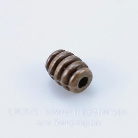 """Бусина металлическая """"Полосатая"""" (цвет - античная медь) 7х5 мм, 10 штук"""