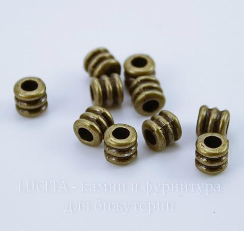 """Бусина металлическая """"Рельефная"""" 5х5 мм (цвет - античная бронза), 10 штук"""