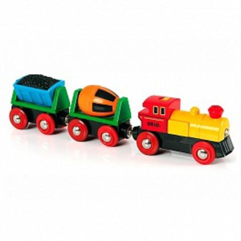 33319 BRIO Товарный поезд деревянной железной дороги со световыми эффектами, на батарейках