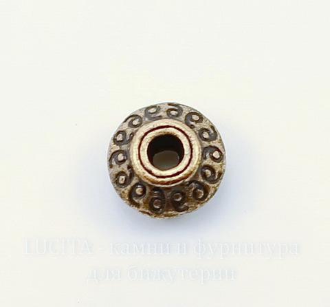 Бусина металлическая - спейсер с узорами (цвет - античная медь) 7х4 мм, 10 штук