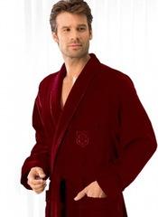 Элитный халат велюровый мужской 3799 бордовый от Cawo