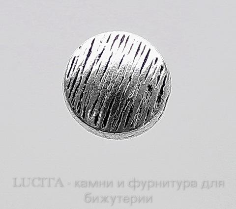 Бусина металлическая плоская (цвет - античное серебро) 10 мм, шт ()