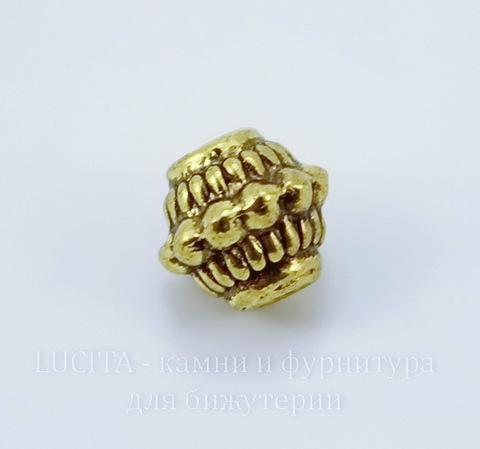 Бусина металлическая (цвет - античное золото) 7х7 мм, 10 штук