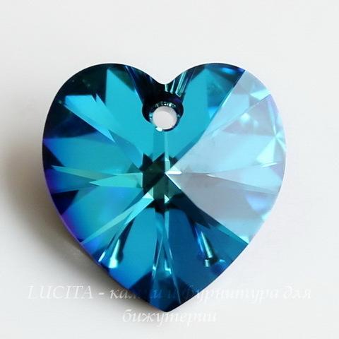 6228 Подвеска Сваровски Сердечко Crystal Bermuda Blue (14,4х14 мм) ()