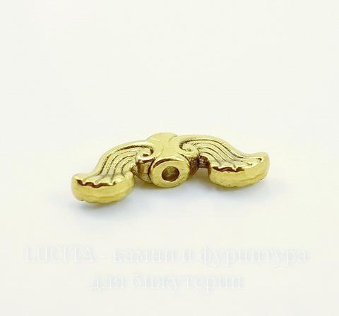 """Бусина металлическая """"Крылья ангела"""" (цвет - античное золото) 19х7 мм, 10 штук"""