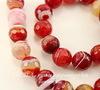 Бусина Агат (тониров), шарик с огранкой, цвет - темно-красный с полосками, 12 мм, нить