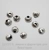 Бусина металлическая текстурная (цвет - античное серебро) 8х7 мм, 10 штук