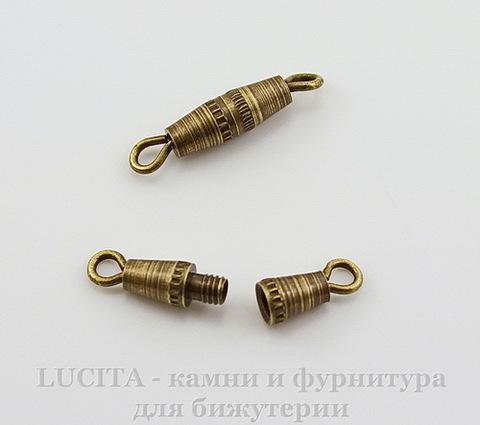 Винтажный элемент - замок винтовой 17х3,5 мм (оксид латуни)
