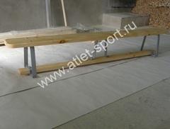 Скамейка гимнастическая на металлических ножках 4.0м (массив дерева)