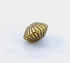 """Бусина металлическая - биконус """"Гофрированный"""" 8х5 мм (цвет - античное золото), 10 штук"""