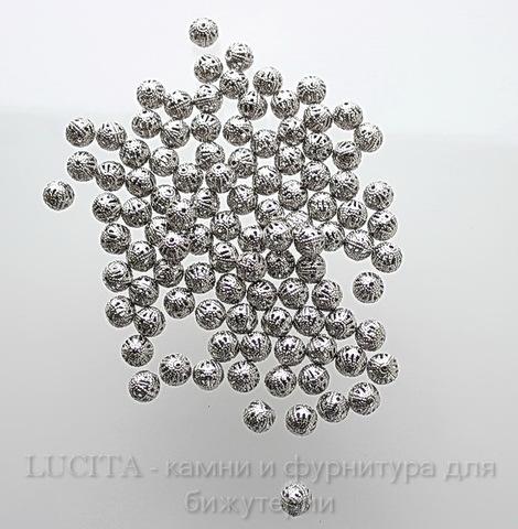 Бусина металлическая филигранная (цвет - античное серебро) 8 мм, 10 штук