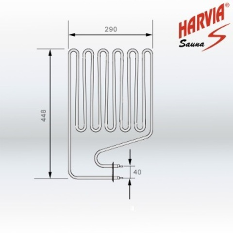 ТЭН Harvia - тэн харвия 2500W ZSP-250 (ZSP250) L=4480mm - нагревательный элемент для печи сауны, см. HTS013HR; см. служ.