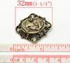 Коннектор с камеей  (цвет - античная бронза) 32х38 мм ()